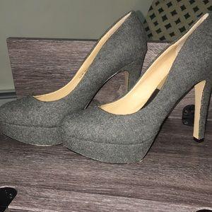 Grey fabric heels